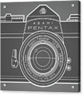 Asahi Pentax 35mm Analog Slr Camera Line Art Graphic White Outline Acrylic Print