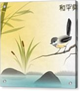 Asian Art Chickadee Landscape Acrylic Print