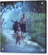 Asian Boy Playing Water With Dad And Buffalo Acrylic Print