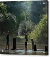 Asian Girl Playing Water In River Acrylic Print