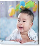 Asian Newborn Baby Smile In A Bed With Fish And Animal Mobile Acrylic Print