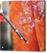 Asian Woman Holding Incense Sticks During Hindu Ceremony In Bali, Indonesia Acrylic Print