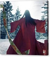 Asian Woman In Red Kimono Dancing In The Snow Spinning Around To Acrylic Print