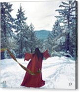 Asian Woman In Red Kimono Dancing On The Snow In The Forest Acrylic Print