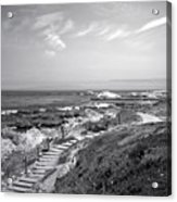 Asilomar Beach Stairway In Black And White Acrylic Print