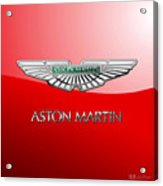 Aston Martin - 3 D Badge On Red Acrylic Print