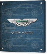 Aston Martin 3 D Badge Over Aston Martin D B 9 Blueprint Acrylic Print