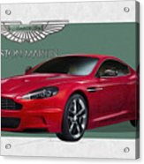 Aston Martin  D B S  V 12  With 3 D Badge  Acrylic Print by Serge Averbukh