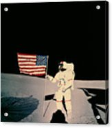 Astronaut With Us Flag On Moon Acrylic Print
