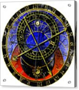 Astronomical Clock In Grunge Style Acrylic Print