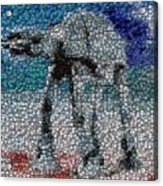 At-at Bottle Cap Mosaic Acrylic Print by Paul Van Scott