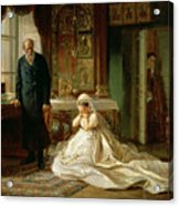 At The Altar Acrylic Print by Firs Sergeevich Zhuravlev
