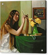 At The Dressing Table Acrylic Print by Felix Edouard Vallotton