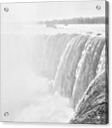 At The Edge Of Horseshoe Falls In Black And White Acrylic Print