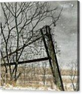 At The End...fence Post Acrylic Print by Stephanie Calhoun