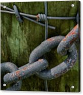 At The Fence Gate - Chain, Wire, And Post Acrylic Print