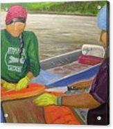 Athabaskan Women Cutting Salmon Acrylic Print by Amy Reisland-Speer