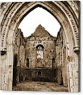 Athassel Priory Tipperary Ireland Medieval Ruins Decorative Arched Doorway Into Great Hall Sepia Acrylic Print