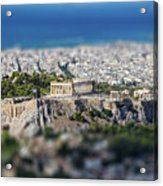 Athens, Greece. Athens Acropolis And City Aerial View From Lycavittos Hill Acrylic Print