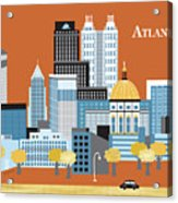 Atlanta Georgia Horizontal Skyline Acrylic Print