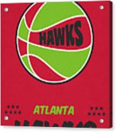 Atlanta Hawks Vintage Basketball Art Acrylic Print
