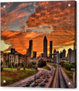 Atlanta Orange Clouds Sunset Capital Of The South Acrylic Print