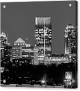 Atlanta Skyline At Night Downtown Midtown Black And White Bw Panorama Acrylic Print