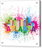 Atlanta Skyline Paint Splatter Text Illustration Acrylic Print