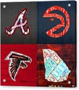 Atlanta Sports Fan Recycled Vintage Georgia License Plate Art Braves Hawks Falcons Plus State Map Acrylic Print