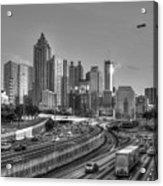 Atlanta Sunset Good Year Blimp Overhead Cityscape Art Acrylic Print