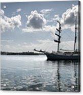 Atlantis - A Three Masts Vessel In Port Mahon Crystaline Water Acrylic Print