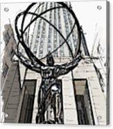 Atlas Sculpture Sketch In New York City Acrylic Print
