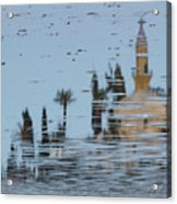 Atmospheric Hala Sultan Tekke Reflection At Larnaca Salt Lake Acrylic Print