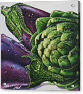 Aubergines And An Artichoke Acrylic Print