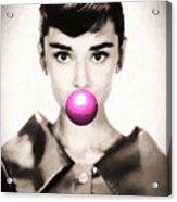 Audrey Hepburn Bubblegum Acrylic Print