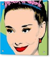 Audrey Hepburn Pop Art Blue Green Acrylic Print