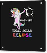August 21 Solar Total Eclipse Funny Dabbing Unicorn Acrylic Print
