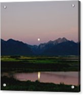 August Moon Over Mission Mountains And Ninepipes Refuge  Acrylic Print