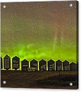 Aurora Borealis Behind Grain Bins Acrylic Print