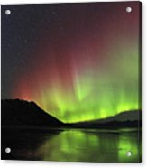Aurora Borealis Milky Way And Big Acrylic Print