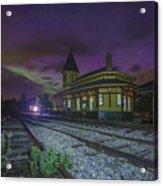 Aurora Over The Crawford Notch Depot Acrylic Print