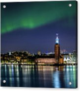 Aurora Over The Stockholm City Hall And Kungsholmen Acrylic Print