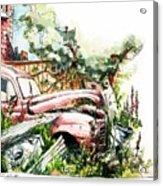 Austin A40 Van Rusting Away In The Garden Acrylic Print