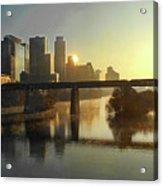 Austin Hike And Bike Trail - Pfluger Pedestrian Bridge - Fog Lifting Bright Panorama Acrylic Print