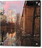 Austin Hike And Bike Trail - Train Trestle 1 Sunset Triptych Middle Acrylic Print