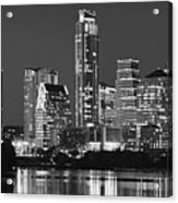 Austin Skyline At Night Black And White Bw Panorama Texas Acrylic Print