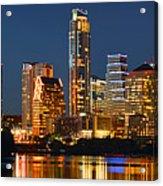 Austin Skyline At Night Color Panorama Texas Acrylic Print