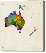 Australia Continent Watercolor Map Acrylic Print
