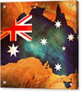 Australian Flag On Rock Acrylic Print