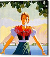 Austria, Young Woman In Traditional Dress Invites You, Danube River Acrylic Print